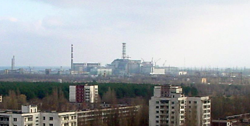 View of Chernobyl taken from Pripyat