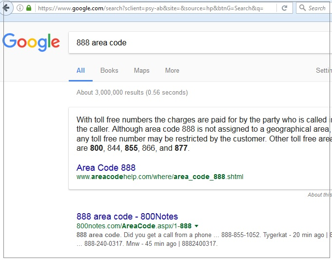 Search for area code on Google.com