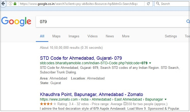 Search for area code on Google India
