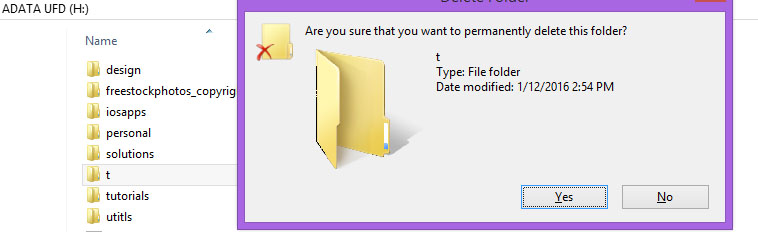 Confirm that you want to delete folder permanently