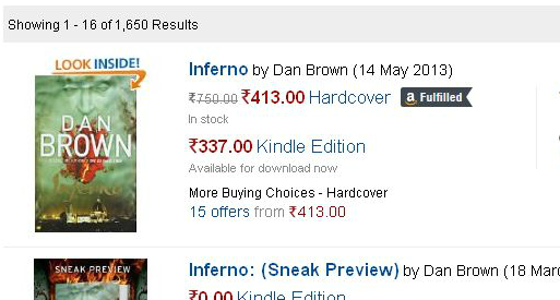 Inferno - by Dan Brown, Price at amazon.in