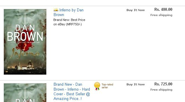 Inferno - by Dan Brown, Price at ebay.in