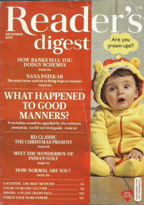 Reader's Digest (India Edition) December 2015 issue - cover page