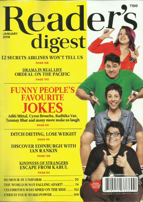 Reader's Digest (India Edition) January 2016 issue - cover page