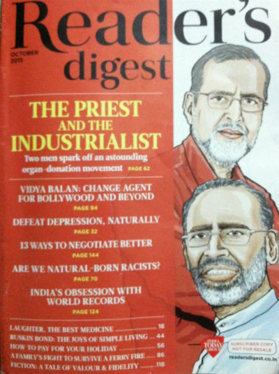 Reader's Digest - October 2015 Issue (India Edition) - Cover Page