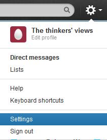 Twitter >> settings