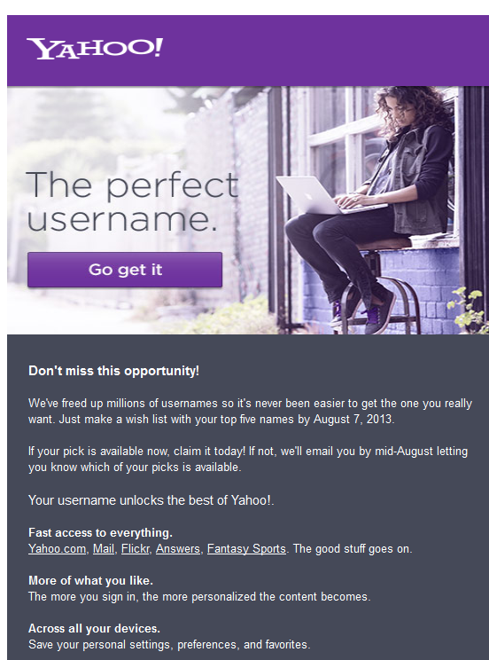 Yahoo! started sending invites to grab your desired email address