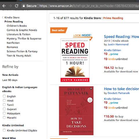Amazon Prime Reading Catalog - India