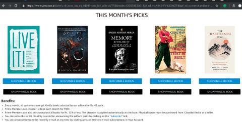 Amazon Reader's Delight for Prime Member in India - Book Catalog for December 2018