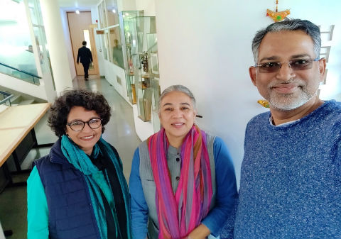 Mr. Debasish Das With Padmini and Dr Swapna Liddle at the INTACH office, Delhi