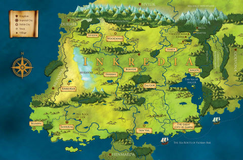 Map of fictional world of INKREDIA