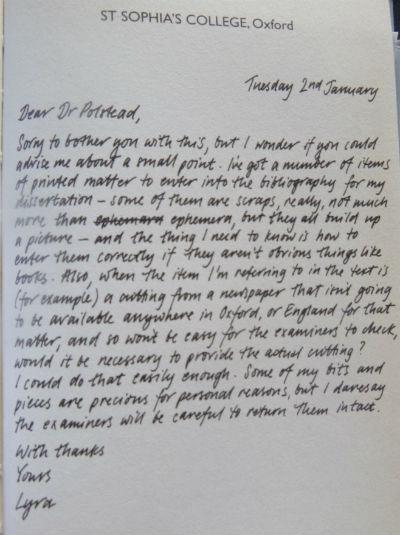 Lyra's Letter