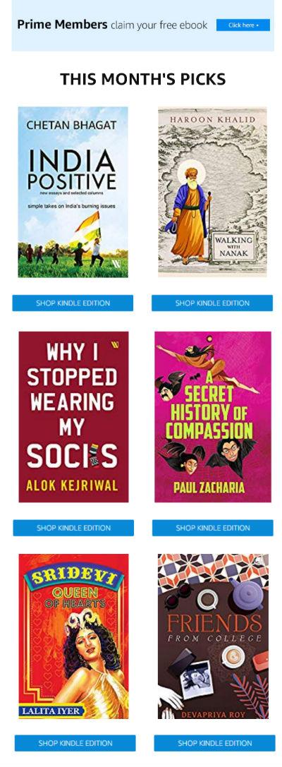 Amazon Prime Members - Reader's Delight Catalog - Free Books - November 2019