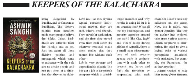 Keepers of the Kalachakra by Aswhin Sanghi | Book Review Published in – Pune Trends (Nov 2018)